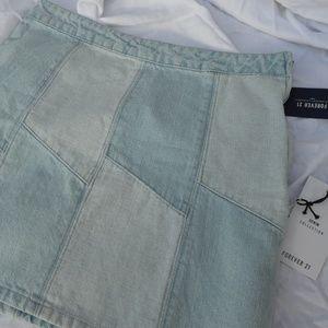 Forever 21 Patterned Denim Skirt